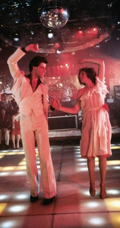 John Travolta and Karen Lynn Gorney in mid-routine.