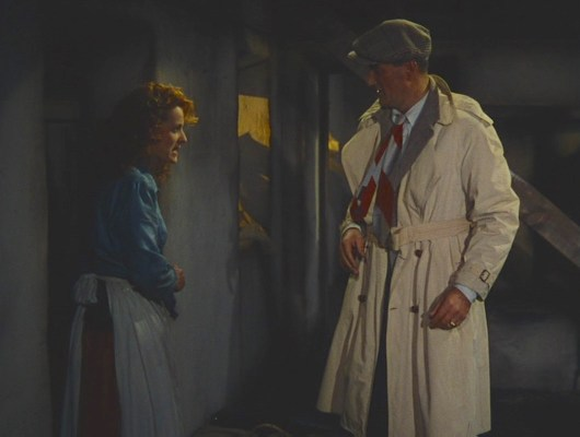 "More of Sean's tie is seen when he returns to his new cottage, sans jumper, and runs into Mary Kate Danaher (Maureen O'Hara). Supposedly, director John Ford didn't approve of O'Hara squinting as the wind effects in this iconic scene kept blowing her hair into her eyes. As fiery as her character, O'Hara shouted her retort to Ford: ""What would a bald-headed son of a bitch know about hair lashing across his eyeballs?"""