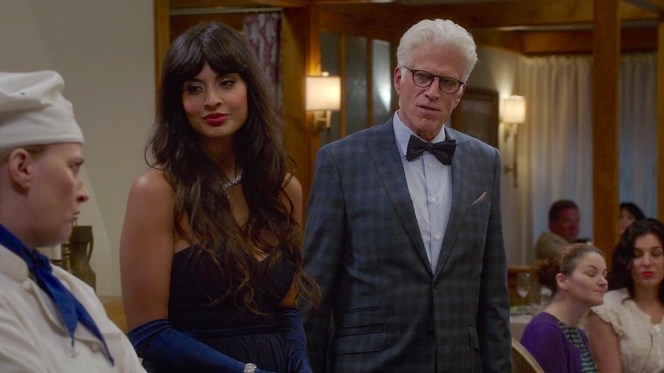 "Tahani (Jameela Jamil) and Michael (Ted Danson) dressed in their fineries for the opening of The Good Plates in ""Jason Mendoza"" (episode 1.04)."