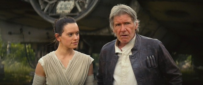 Rey (Daisy Ridley) considers her reluctantly offered job to be Han Solo's mate on the Millennium Falcon.