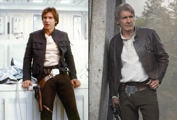 "Left: Harrison Ford in The Empire Strikes Back (1980), sporting Han's iconic ""Bespin outfit"". Right: Ford in Michael Kaplan's ""evolved"" costume in Star Wars: The Force Awakens (2015)."