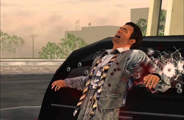 The video game's Sonny meets his grisly end, wearing not the gray plaid double-breasted suit he wore for that scene in the movie but instead the vest, trousers, and tie from when he beat up Carlo.