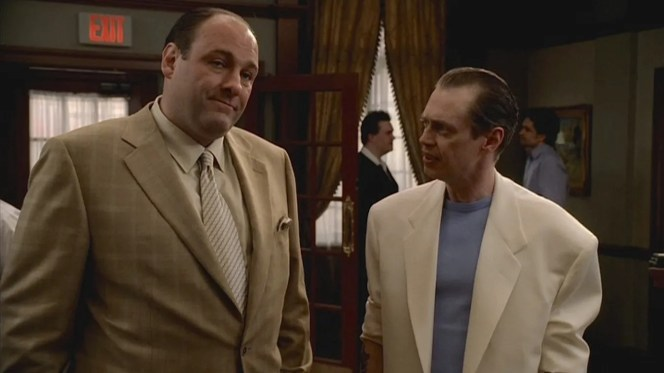 """Artie Bucco calls out Tony B.'s anachronistic wardrobe, asking """"Where's Tubbs?"""" at his homecoming party. Maybe Quintina should have let """"Tony Uncle Johnny"""" take """"Tony Uncle Al"""" shopping for some new suits instead of parading him around like a scrawny Don Johnson."""