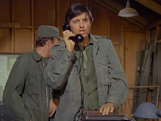 "Bundled up in his field jacket and fatigues during ""The Army-Navy Game"" (Episode 1.20)."