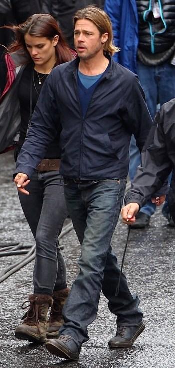 Brad Pitt on the Glasgow set (standing in for Philadelphia) of World War Z (2013)