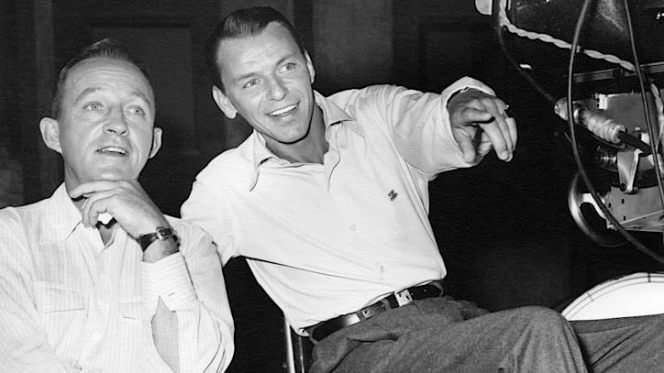 "Bing and Frank behind the scenes of ""Happy Holidays with Bing & Frank"", late 1957."