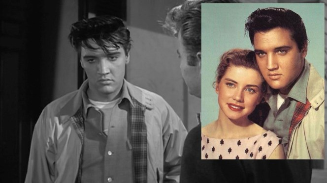Production stills like the inset photo of Elvis with co-star Dolores Hart inform the light grayish blue color of the shirt. In the mid-1960s, 24-year-old Hart left her acting career to become a Roman Catholic Benedictine nun; she was recently the focus of an Academy Award-nominated documentary, God Is the Bigger Elvis (2011).