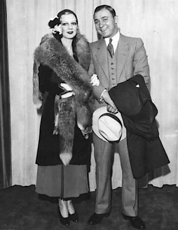 """The real """"Machine Gun"""" Jack McGurn and his """"Blonde Alibi"""", Louise Rolfe, after their 1931 wedding."""