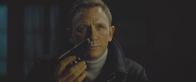 Bond offers his own Walther PPK to Mr. White as a gesture of trust. This would have been a suitable occasion for him to be carrying a model with palm-reading grips, but Q seems to have retired that capability.