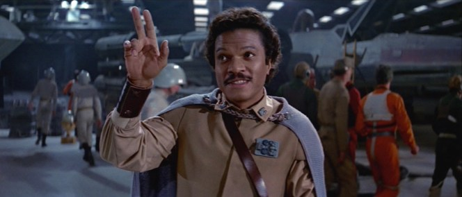"""Good luck."" This shot was actually reversed in the finished film; it's been corrected here to reflect the actual appearance of Lando in uniform."