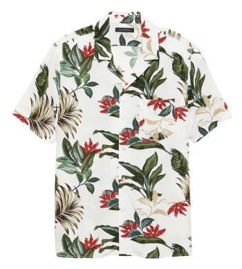 "Banana Republic's Soft Camp Shirt in ""Botanical Khaki"" provides a decent modern match to Poitier's summer shirt in Lilies of the Field."
