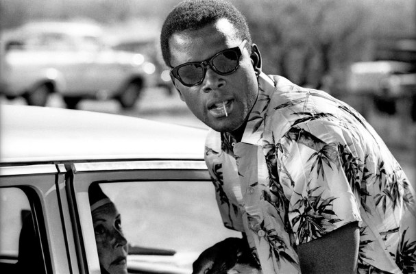 Poitier exudes cool in his wayfarers and printed shirt, a noted contrast to the rugged workwear and sport jackets he wears for the rest of Lilies of the Field.