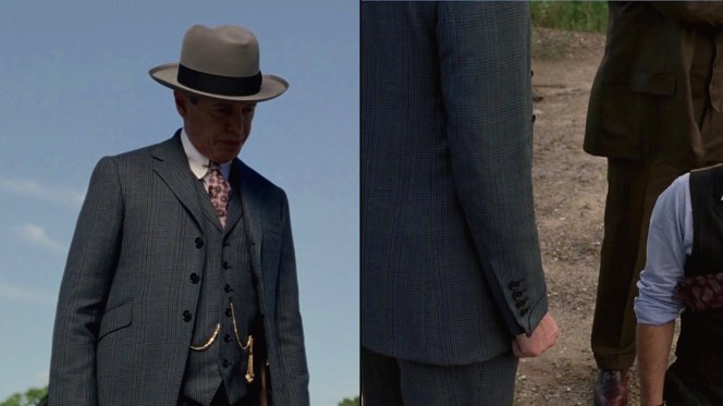 "Closer looks at Nucky's suit jacket and waistcoat details in ""White Horse Pike"" (Episode 4.10)."