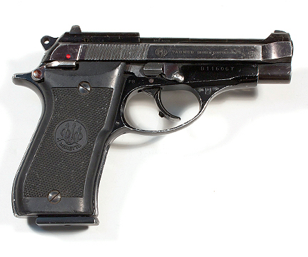 Tony Soprano's screen-fired Beretta Model 85BB Cheetah pistol as featured on The Sopranos, sourced from The Golden Closet.
