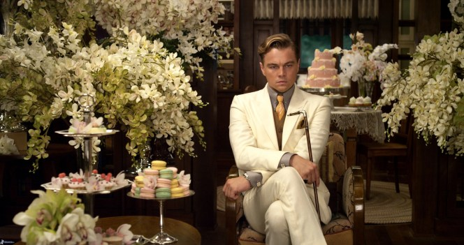 Production photo of Leonardo DiCaprio's Gatsby anxiously awaiting Daisy in The Great Gatsby (2013).