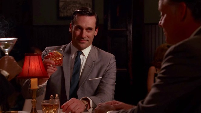 "Don toasts the outgoing Fred Rumsen with an Old Fashioned in ""Six-Month Leave"" (Episode 2.09)."