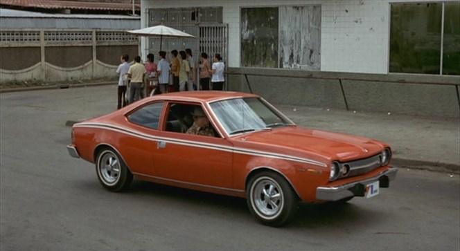 The dream team of James Bond and Sheriff J.W. Pepper chase after Scaramanga in their commandeered red AMC Hornet X.