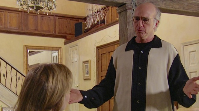 """Given his usual approach to dressing, the oversized Nat Nast shirt still looks """"pretty, pretty good"""" on Larry David."""