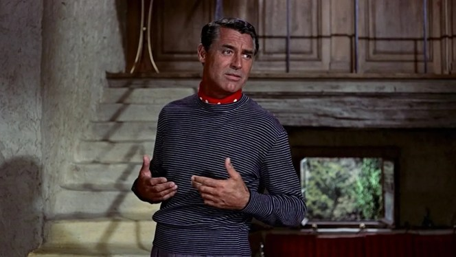 Robie gestures to the Sûreté detectives that he would be less than comfortable accompanying to their offices in his informal untucked jersey and neckerchief.