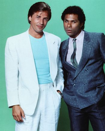 "Don Johnson and Philip Michael Thomas in a promotional photo for ""Brother's Keeper, the pilot episode of Miami Vice"