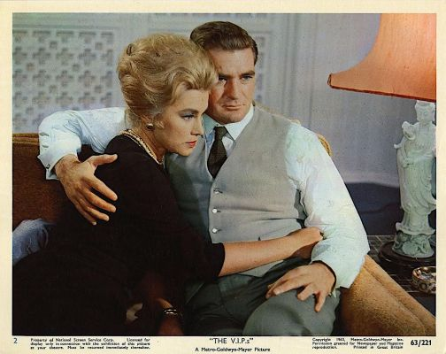 Contemporary lobby card for The V.I.P.s (1963) featuring Linda Christian and Rod Taylor.