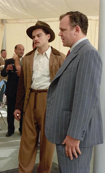 Leonardo DiCaprio and John C. Reilly on set of The Aviator (2004)
