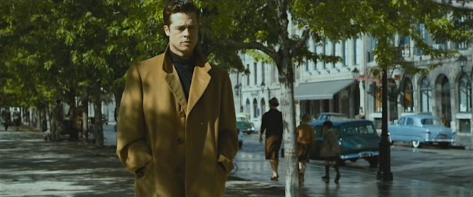 A brief vignette after the hospital sequence gives us a better look at the overcoat as Benjamin wears it over a beatnik-friendly black roll-neck jumper.