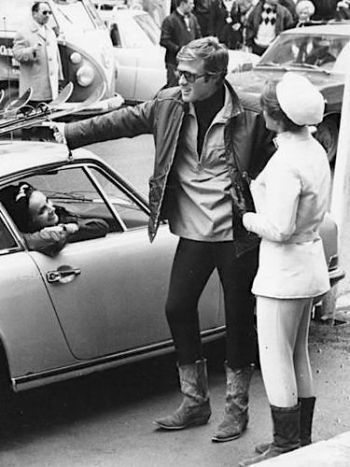 Robert Redford and Camilla Sparv with her Porsche on the set of Downhill Racer (1969)