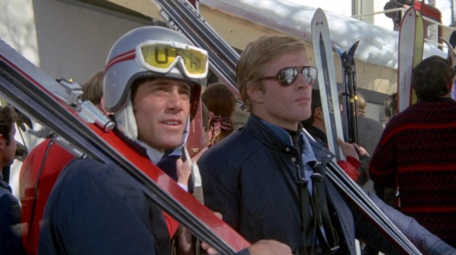 Dave and a teammate prepare to hit the slopes before they're distracted by squealing tires.