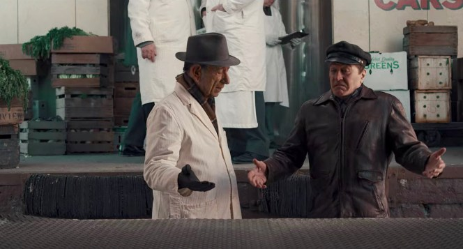 We're treated to a classic De Niro face as Frank Sheeran feigns ignorance regarding why his truck is empty.