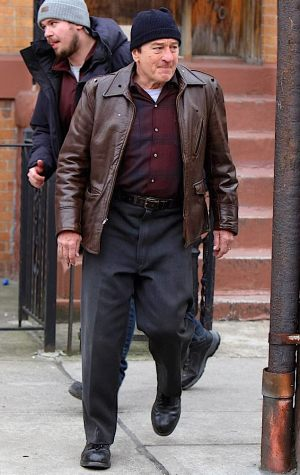 Robert De Niro on set of The Irishman. Note the studs on his collar, shoulders, and chest that would be used for the digital de-aging. Photo by Jose Perez.