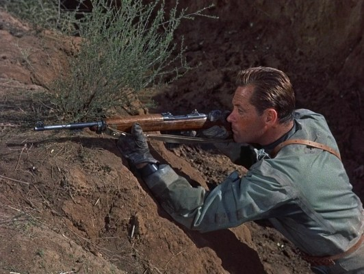 Though the M2 carbine was more commonly fielded during the Korean War, Brubaker and Forney use M1 carbines during their last stand.