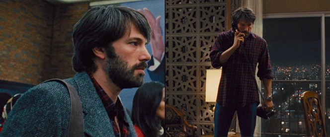 Mendez flies into Tehran wearing a comfortable and colorful plaid flannel shirt under his tweed jacket.