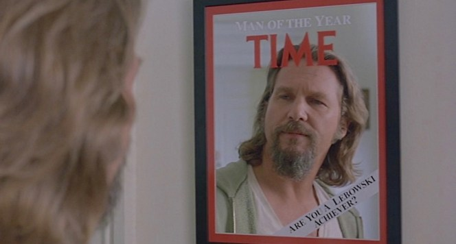 The Dude admires the piece of encouraging home decor we all need.