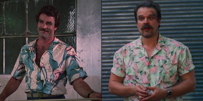 """Rather than trying to directly copy Magnum's style, Hopper found a different Aloha shirt that was unique to him... though the closest of Selleck's screen-worn shirts appears to be this large-printed top from the first season finale, """"Beauty Knows No Pain"""" (Episode 1.18)."""