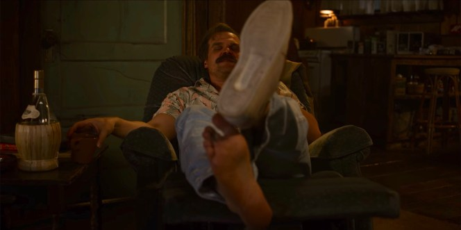 """An inebriated Hop kicks off his boat shoes at the outset of """"The Case of the Missing Lifeguard"""" (Episode 3.03), concerned only with his recliner and his commandeered Chianti."""