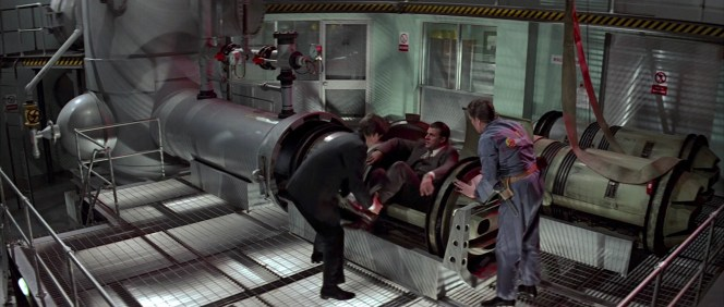 """Pigs! Borscht! Cake! There must be another way!"" Koskov complains of Bond's experimental but ultimately effective method of securely transporting him out of Soviet territory via a literal pipeline to the west."