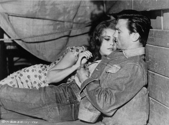 Promotional photo of Jane Fonda and Laurence Harvey in Walk on the Wild Side.