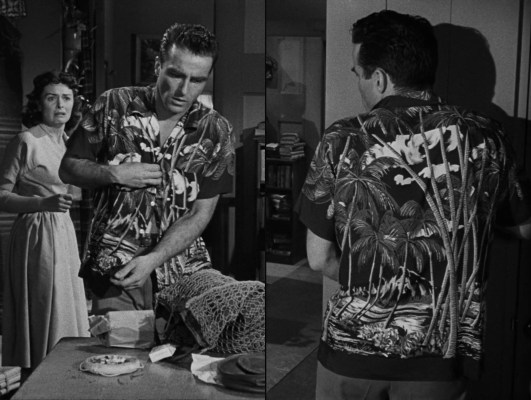 To Lorene's horror, a wanted and wounded Prew dresses to return to duty after the events of December 7, 1941. He may be out of his Army uniform, but Aloha shirts have become something of an unofficial uniform for our protagonist.