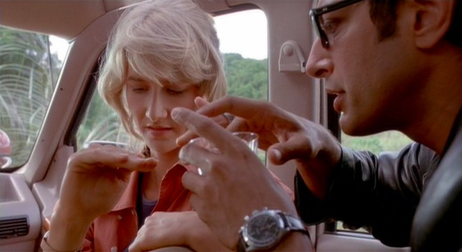 Dr. Malcolm attempts to work his chaotic charm on Dr. Sattler. (In real life, Jeff Goldblum and Laura Dern would date for two years following the production of Jurassic Park.