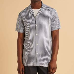 "The Short-Sleeve Camp Collar Button-Up Shirt in ""Navy Blue Stripe"" from Abercrombie & Fitch"