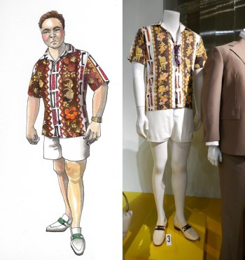 Tony Pro, from costume to execution. (Design sketch sourced from GQ. Costume photo sourced from Hollywood Movie Costumes and Props.)