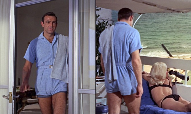 Clad in his terry cloth romper, Bond takes in the attractive sights of Miami Beach.