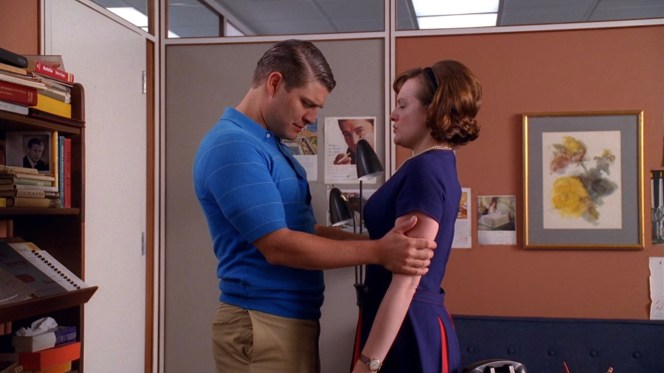 "A sleazier Stan than we recognize from later seasons tries to teach Peggy a relaxation ""technique"" he reportedly learned from a yogi."
