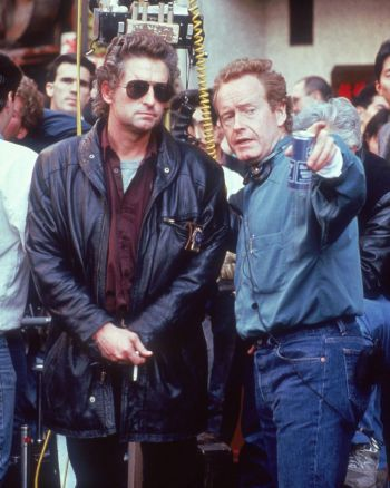 Michael Douglas and director Ridley Scott on location filming Black Rain (1988)