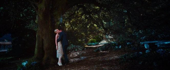 Gatsby and Daisy break away from his party for an intimate moment in the woods.