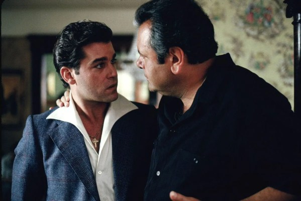 Production photo of Ray Liotta and Paul Sorvino in Goodfellas.