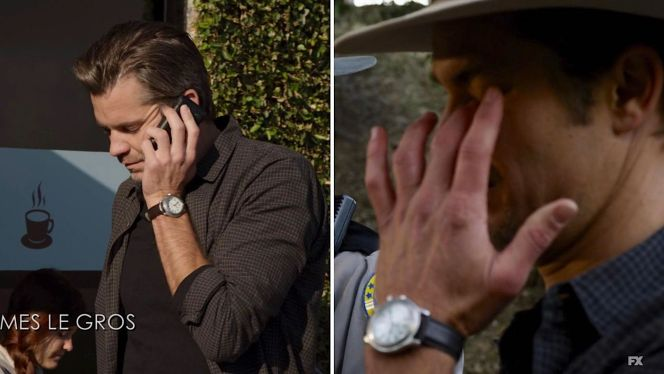 Does Raylan's watch strap alternate between brown and black leather, or is this an illusion due to the lighting?