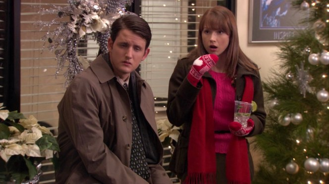 Zach Woods and Ellie Kemper in The Office