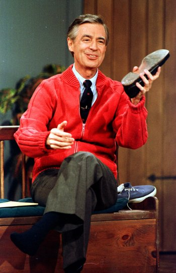 Fred Rogers on the set of Mister Rogers' Neighborhood
